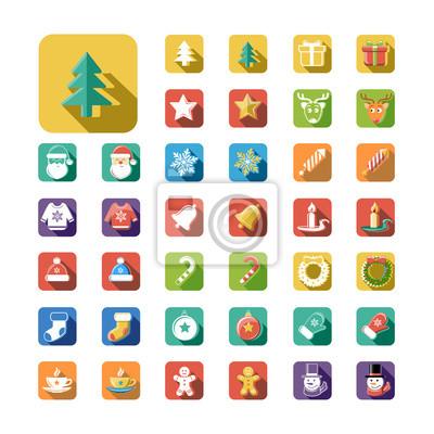 Flat Style Weihnachten und Neujahr Icons