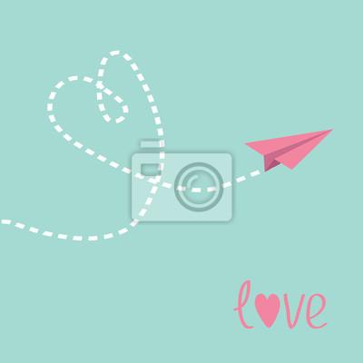 Fliegen Papierflieger. Herz in den Himmel. Liebe Karte.