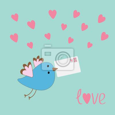 Fliegen Vogel mit Brief und Herzen. liebe Karte.