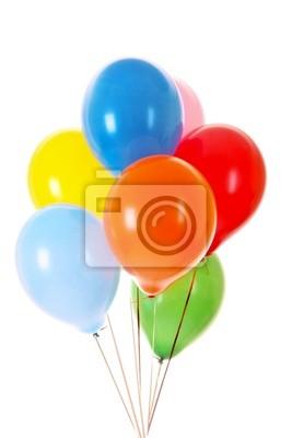 Fliegende Luftballons isoliert auf weiß