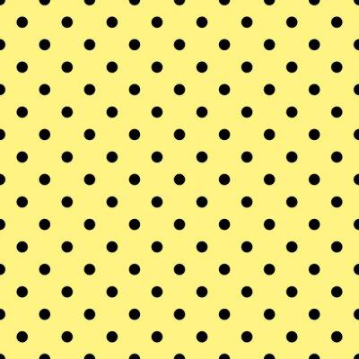 Fototapete Fliesen-Vektor-Muster mit schwarzen Tupfen auf gelbem Hintergrund