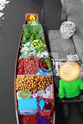 Floating market,Fruit Seller in Woodenboat, Thailand.
