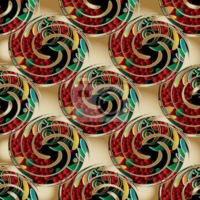 Floral 3d Nahtlose Muster Hintergrund Tapete Mit Vintage 3d Blumen