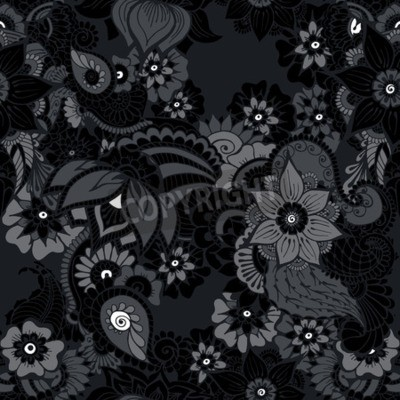 Floral Background With Indian Ornament In Black Colors Seamless