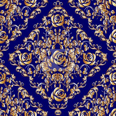 Floral barock nahtlose muster. blaue damast hintergrund tapeten ...