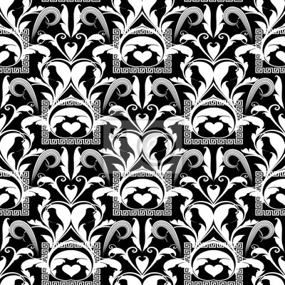 Floral Black And White Seamless Pattern Vector Abstract Background