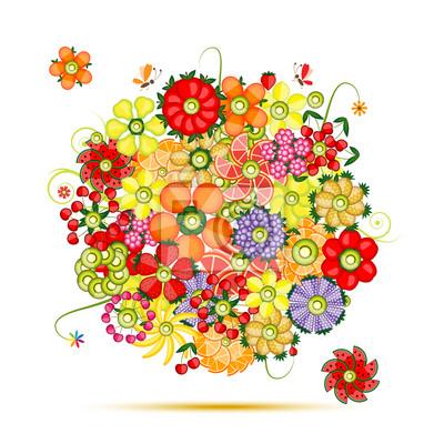 Floral Bouquet. Blumen aus Früchten