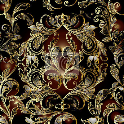 Floral Damast Nahtlose Muster Dunkle Hintergrund Tapeten