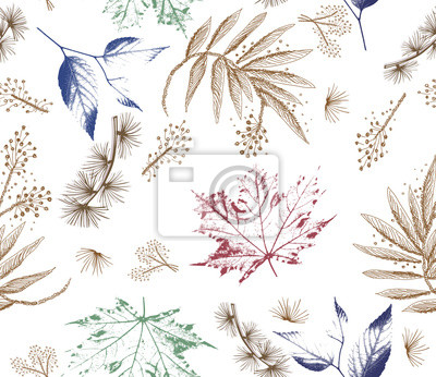 Fototapete Floral forest seamless pattern. Wild Flowers and leaves background