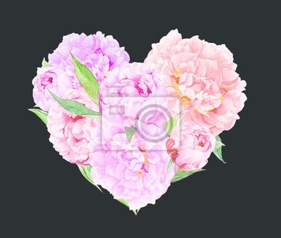 Floral Herz Rosa Pfingstrose Blumen Aquarell Fur Valentinstag