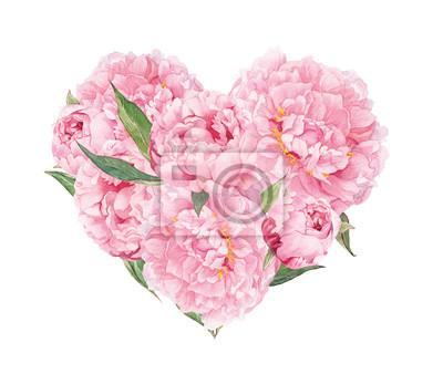Floral Herz Rosa Pfingstrosen Blumen Aquarell Fur Valentinstag