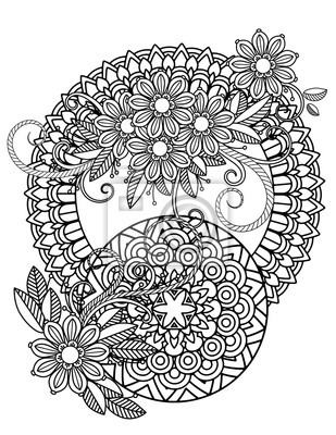 Fototapete: Floral mandala pattern in black and white. adult coloring book