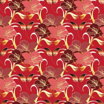 fototapete floral moderne nahtlose muster hintergrund tapeten illustration mit vintage gold rot paisley blumen luxus - Tapete Rot Muster