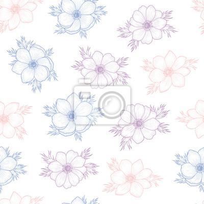 Floral nahtlose muster der blume anemone in farben von 2016 ...