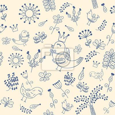 Floral nahtlose Muster in Doodle-Stil mit niedlichen Vögel