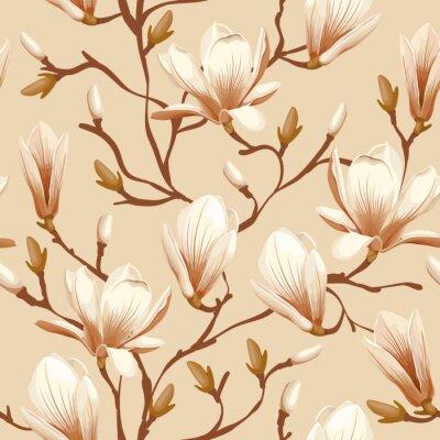 Fototapete Floral nahtlose Muster - Magnolia