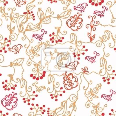 Floral nahtlose Muster mit Vögeln, Zweigen und Schmetterlingen