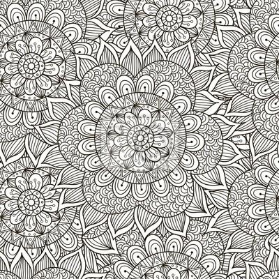 Floral ornament nahtlose muster. schwarz und weiß runde ...
