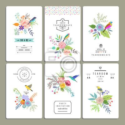 Floral Sammlung von romantischen Einladungen. Hochzeit, Ehe