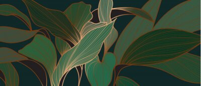 Fototapete Floral seamless emerald green and copper metallic plant background vector for house deco