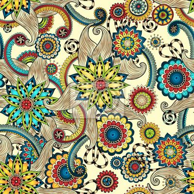Floral seamless im Vektor. Doodles Design die nahtlose Muster.