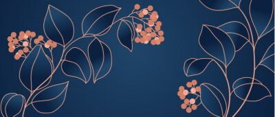 Fototapete Floral seamless navy blue and copper metallic plant background vector for house deco
