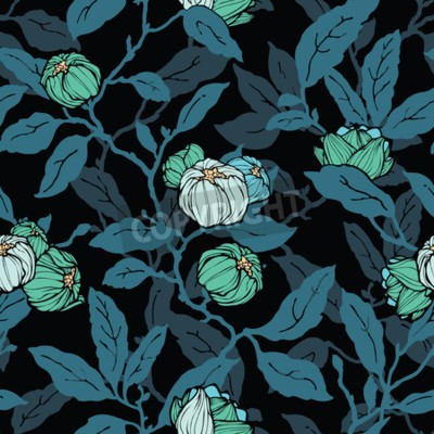 Fototapete Floral seamless pattern. Abstract ornamental flowers. Flourish leaves background