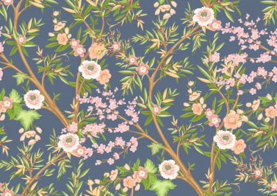 Fototapete Floral seamless pattern in chinoiserie style. Vector illustration.
