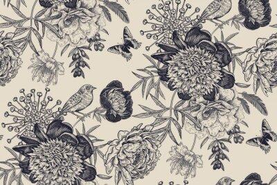 Fototapete Floral seamless pattern with garden flowers peonies, bird and butterflies.