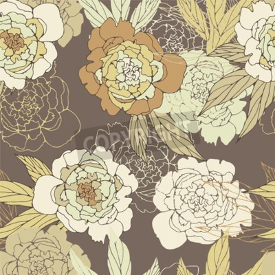 Fototapete Floral seamless pattern with peony.