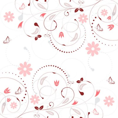 Fototapete Floral Vektor Hintergrund mit Vintage Blume Muster und Schmetterlinge.
