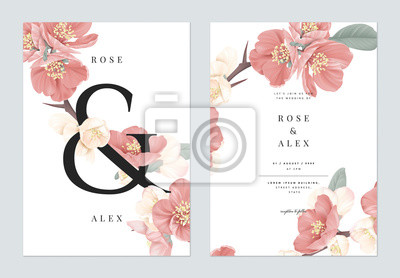 Fototapete Floral wedding invitation card template design, pink Japanese quince flowers with ampersand lettering on white, pastel vintage theme