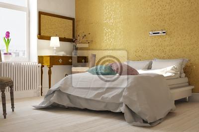 Florale muster an wand im schlafzimmer fototapete • fototapeten ...