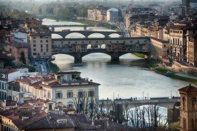 Fototapete Florenz Ponte Vecchio Sonnenuntergang Ansicht