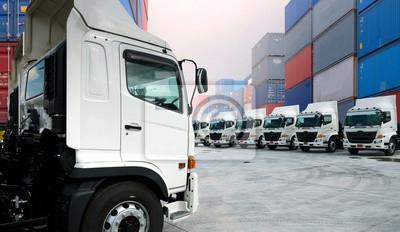 Flotte Lkw Neu Depot Transport Transport Versand Weiß