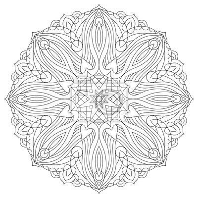 Fototapete: Flower circular mandala for adults. coloring book page design.