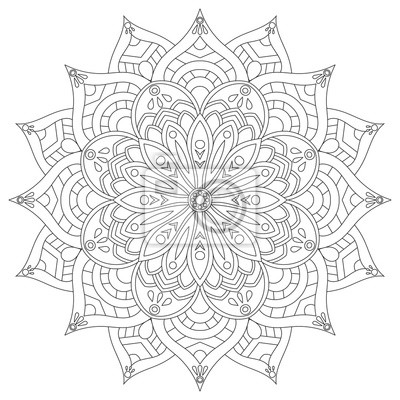 Flower circular mandala for adults. coloring book page design ...