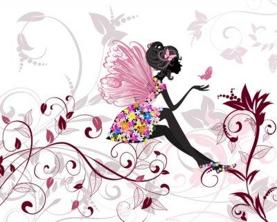 Fototapete Flower Fairy mit Schmetterlingen