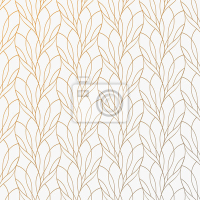 Fototapete Flower petal or leaves geometric pattern vector background. Repeating tile texture of this line on oval shape with gradient effect. Pattern is clean usable for wallpaper, fabric, printing.