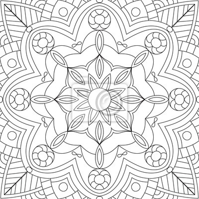 Flower rectangular mandala for adults. coloring book page design ...
