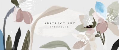 Fototapete Flower watercolor art background vector. Wallpaper design with floral paint brush line art. leaves and flowers nature design for cover, wall art, invitation, fabric, poster, canvas print.