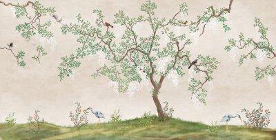 Fototapete Flowering tree in the Japanese garden with birds. Fresco, Wallpaper for interior printing.