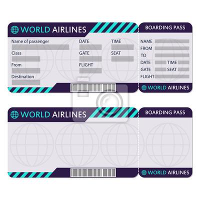 Fluggesellschaft oder flugticket. boarding pass leer und flugzeug ...