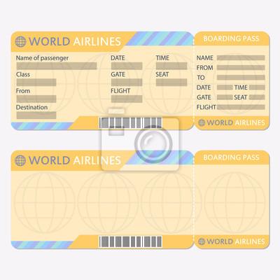 Fluggesellschaft oder flugticketvorlage. bordkarte und ...