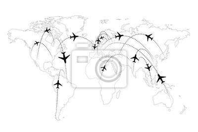 Flugrouten Karte.Fototapete Flugrouten Auf Der Karte Infografik