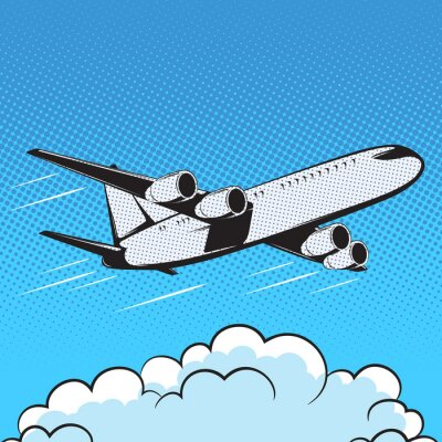 Fototapete Flugzeug Retro Art Pop-Art Luft