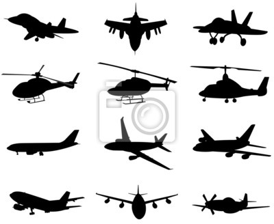 Flugzeug Silhouette Set