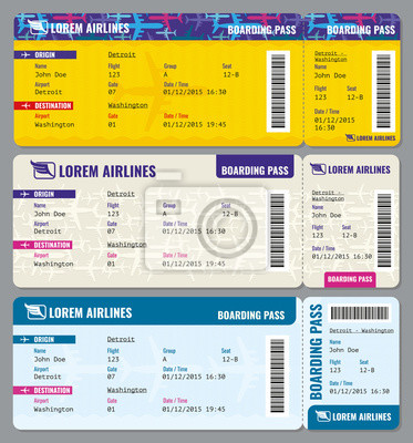 Flugzeug vektor-fahrscheine vorlage. ticket zum flugzeug und ...