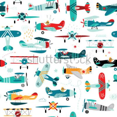 Fototapete Flugzeugjungen nahtlose Muster