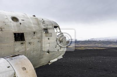 Karte Island Flugzeugwrack.Fototapete Flugzeugwrack Auf Island